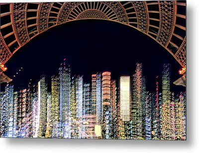 Dallas At Night Metal Print by David Perry Lawrence