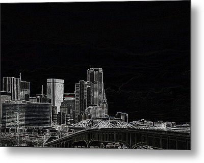 Dallas Skyline In Black - East Metal Print
