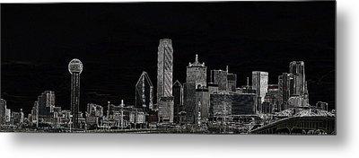 Dallas Skyline In Black Metal Print
