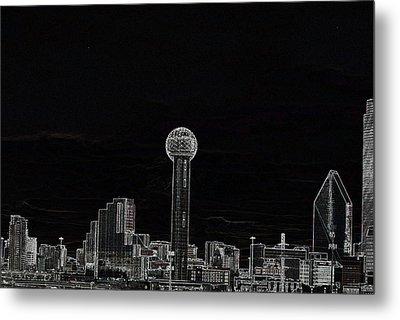 Dallas Skyline In Black- West Metal Print