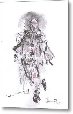 Metal Print featuring the mixed media Dancing Clown by Laurie L