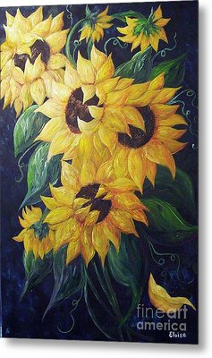 Dancing Sunflowers  Metal Print by Eloise Schneider