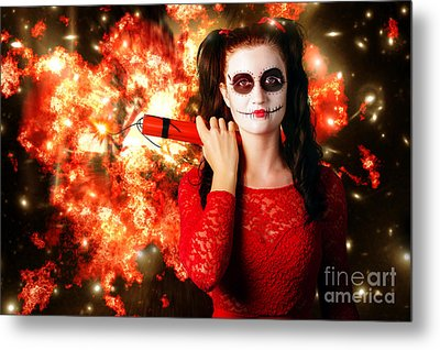 Dangerous Sugarskull Bomber Holding Dynamite Metal Print by Jorgo Photography - Wall Art Gallery