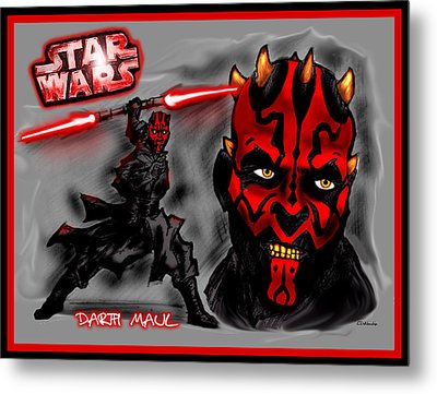 Metal Print featuring the drawing Darth Maul - Sith Lord by Chris  DelVecchio