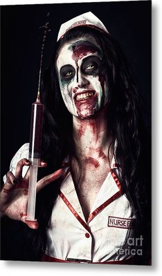 Dead Nurse Taking Blood Donation With Syringe Metal Print by Jorgo Photography - Wall Art Gallery