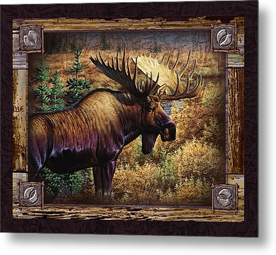 Metal Print featuring the painting Deco Moose by Cynthie Fisher