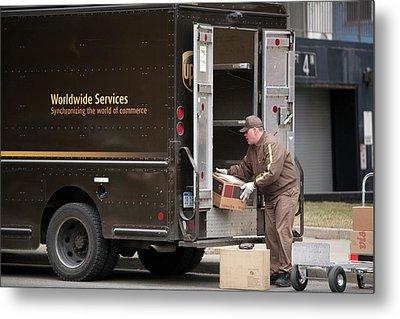 Deliver Driver Loading His Van Metal Print