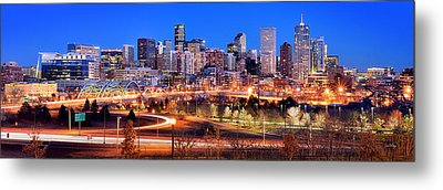 Metal Print featuring the photograph Denver Skyline At Dusk Evening Color Evening Panorama Broncos Colorado  by Jon Holiday