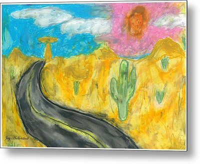 Metal Print featuring the pastel Desert Road by Artists With Autism Inc