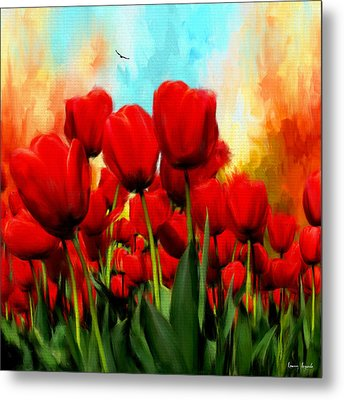 Devotion To One's Love- Red Tulips Painting Metal Print