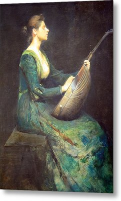 Dewing's Lady With A Lute Metal Print by Cora Wandel