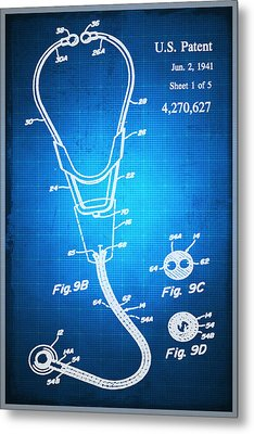 Doctor Stethoscope 2 Patent Blueprint Drawing Sepia Metal Print