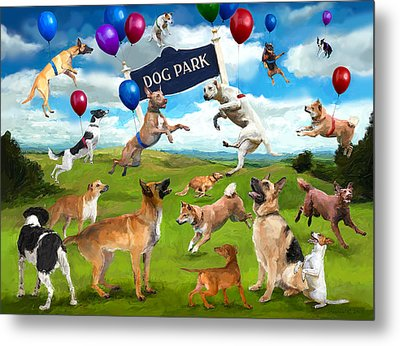 Dog Park Party Metal Print