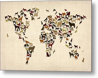 Dogs Map Of The World Map Metal Print by Michael Tompsett