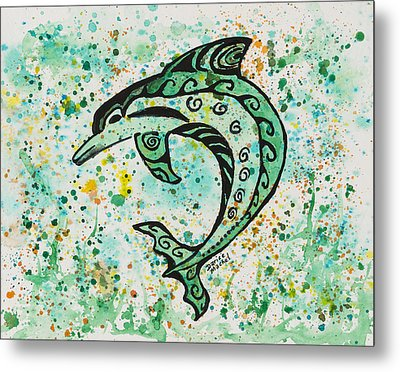 Metal Print featuring the painting Dolphin 2 by Darice Machel McGuire