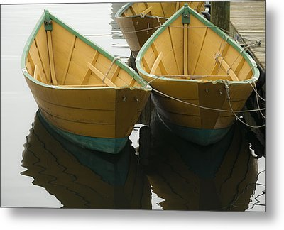 Dories At The Dock Metal Print by David Stone