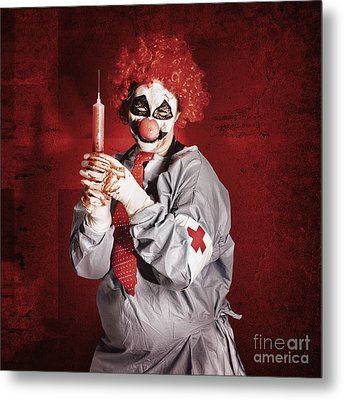Dr Death Clown With Big Red Hypodermic Needle Metal Print