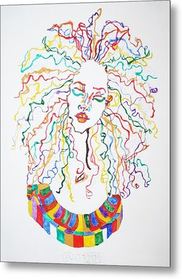 Metal Print featuring the painting Dreadlocks Piano Goddess by Stormm Bradshaw