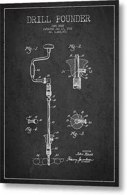 Drill Pounder Patent Drawing From 1922 Metal Print by Aged Pixel
