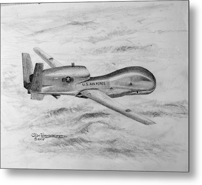 Drone Rq-4 Global Hawk Metal Print
