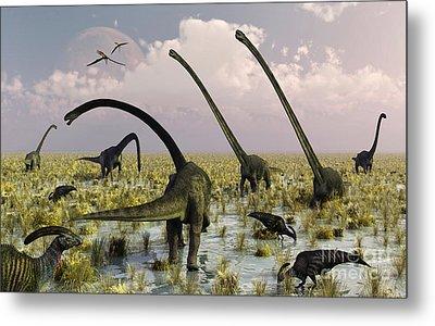 Duckbill Dinosaurs And Large Sauropods Metal Print by Mark Stevenson