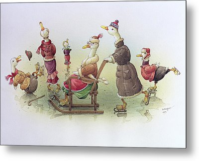 Ducks On Skates Metal Print