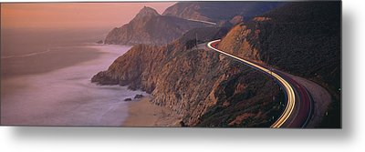 Dusk Highway 1 Pacific Coast Ca Usa Metal Print by Panoramic Images