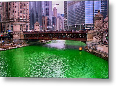Dyeing The Chicago River Green Metal Print by Jerome Lynch