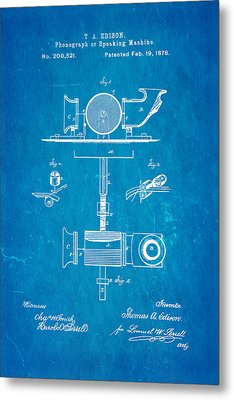 Edison Phonograph Patent Art 1878 Blueprint Metal Print by Ian Monk