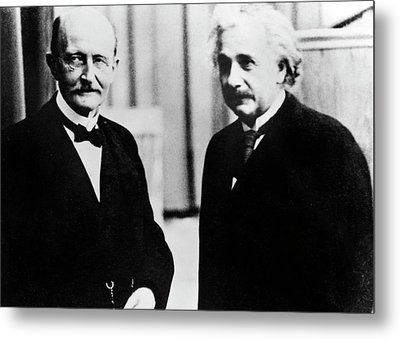 Einstein And Max Planck Metal Print by Emilio Segre Visual Archives/american Institute Of Physics