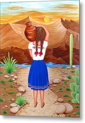 Metal Print featuring the painting El Cantaro by Evangelina Portillo