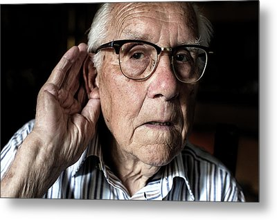Elderly Man With Hearing Loss Metal Print