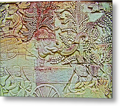 Elephant Bas-relief In The Bayon Or Temple In Angkor Thom-cambodia Metal Print by Ruth Hager