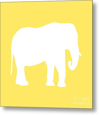 Elephant In Yellow And White Metal Print