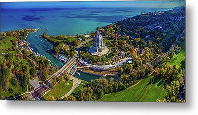 Elevated View Of Bahai Temple Metal Print