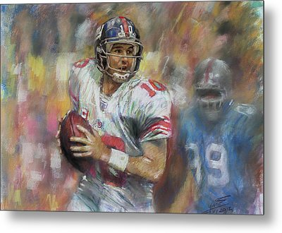 Eli Manning Nfl Ny Giants Metal Print by Viola El