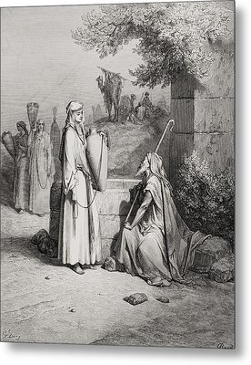 Eliezer And Rebekah Metal Print by Gustave Dore