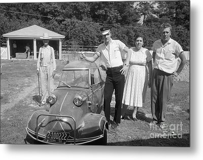Elvis And His Messerschmitt With Vernon And Gladys Presley 1956 Metal Print by The Harrington Collection