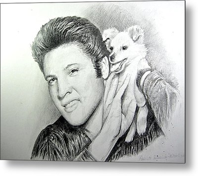 Metal Print featuring the painting Elvis And Sweet Pea by Patricia Schneider Mitchell