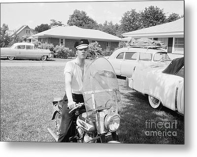 Elvis Presley Sitting On His 1956 Harley Kh Metal Print by The Harrington Collection
