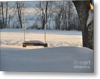 Metal Print featuring the photograph Empty Swing by John Black