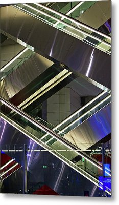 Escalators At Dubai Airport Metal Print by Mark Williamson