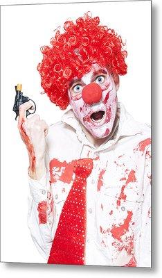 Evil Clown Holding Cap Gun On White Background Metal Print