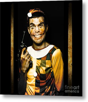 Evil Clown Holding Gun In Horror House Doorway Metal Print
