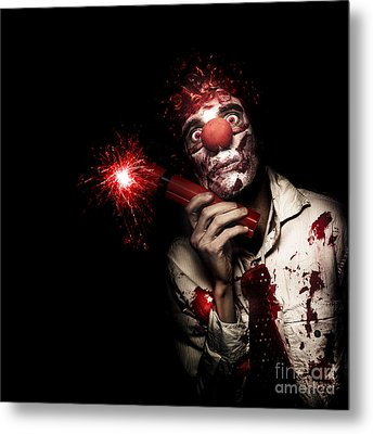 Evil Male Business Clown Holding Explosive Bomb Metal Print by Jorgo Photography - Wall Art Gallery