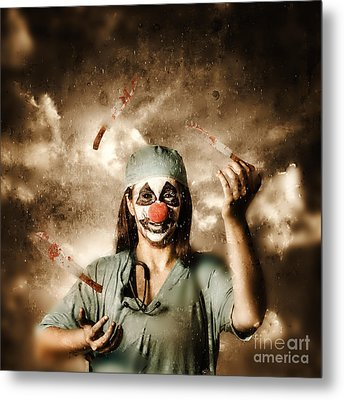 Evil Surgeon Clown Juggling Bloody Knives Outside Metal Print
