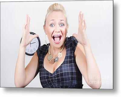 Excited Business Woman Screaming Out In Success Metal Print by Jorgo Photography - Wall Art Gallery