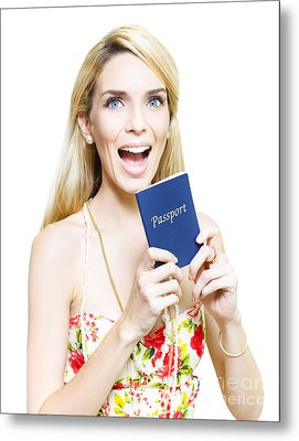 Excited Woman Clutching A Passport Metal Print by Jorgo Photography - Wall Art Gallery