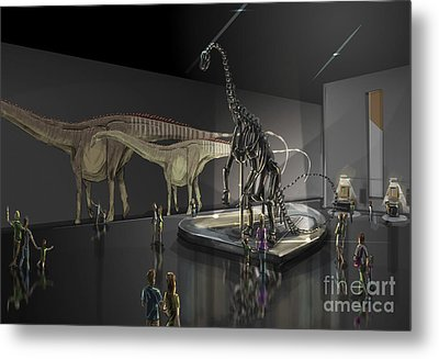 Exhibition Space Featuring Diplodocus Metal Print by Alice Turner