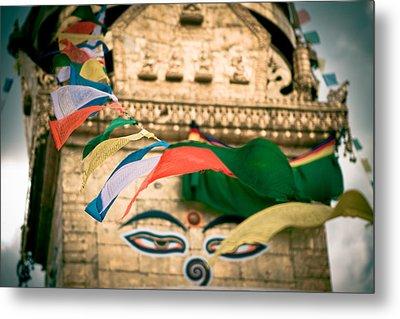 Eye Boudhanath Stupa In Nepal Metal Print by Raimond Klavins